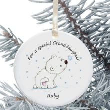 Ceramic Granddaughter/Grandson Keepsake Christmas Decoration - Polar Bear Cub Design